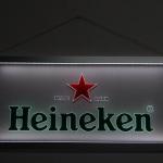 Painel Quadro Heineken Retangular Moldura Prata